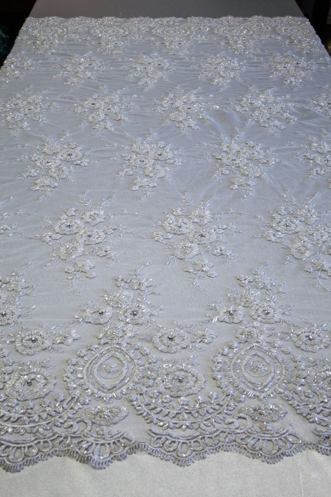 "Navy Floral Mesh w// Embroidery Hand Beaded Lace Fabric 52/"" Sold by the yard"