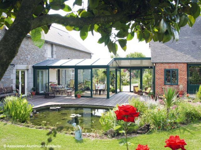 3 solutions pour relier deux b timents am nagement ext rieur et jardin pinterest veranda - Verriere jardin d hiver ...