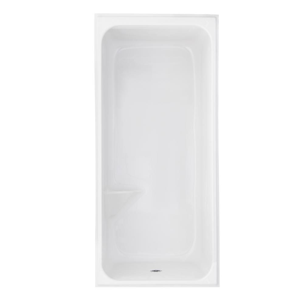 AmeriBath 41 in. x 37 in. x 84 in. 1-Piece Acrylic Low Threshold Shower Stall in White with Closed Top and Center Drain