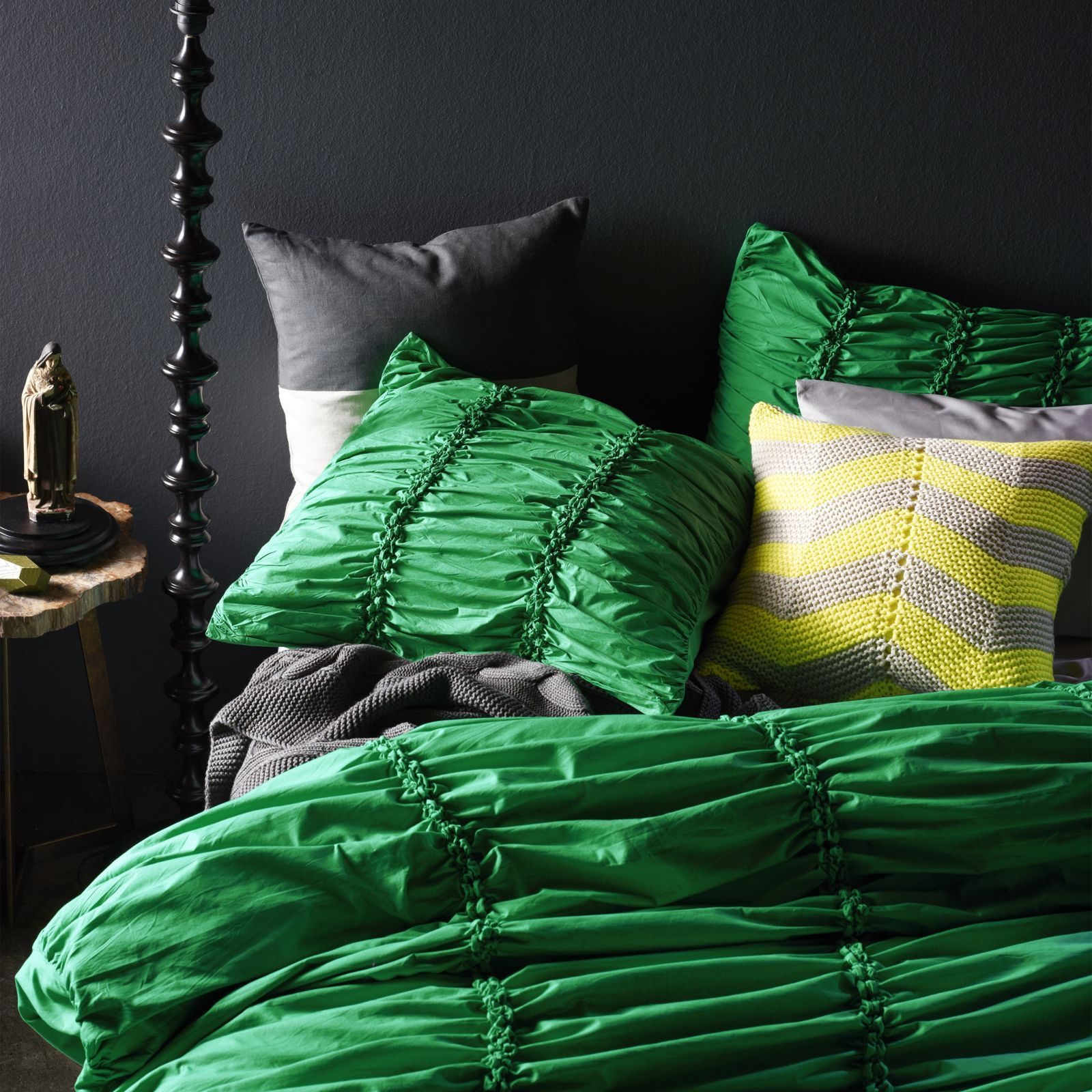 Aura by Tracie Ellis Gathered Quilt Cover | Hues of Emerald ... : gathered quilt - Adamdwight.com