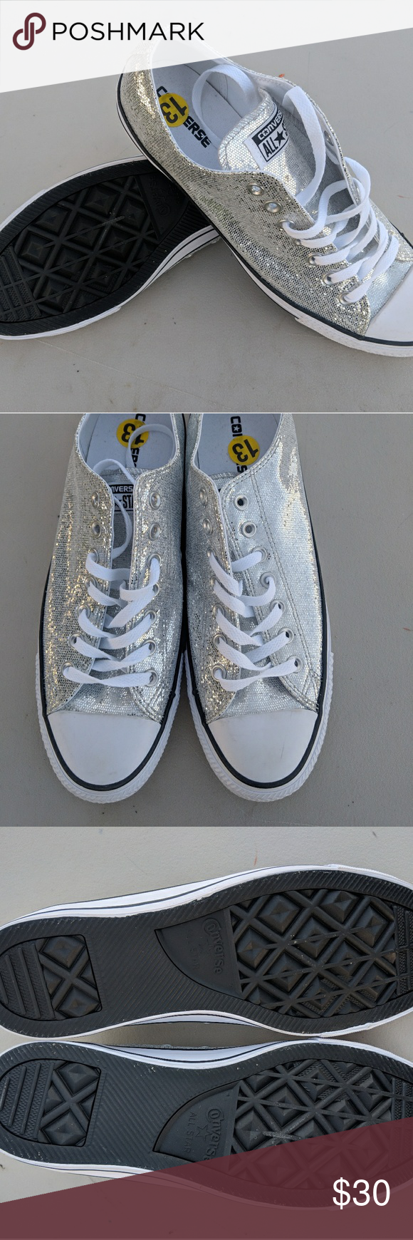 8266f143000d Converse AllStar Silver Glitter Chuck Taylor 11 13 Converse All-Star Silver  Glitter Chuck Taylor