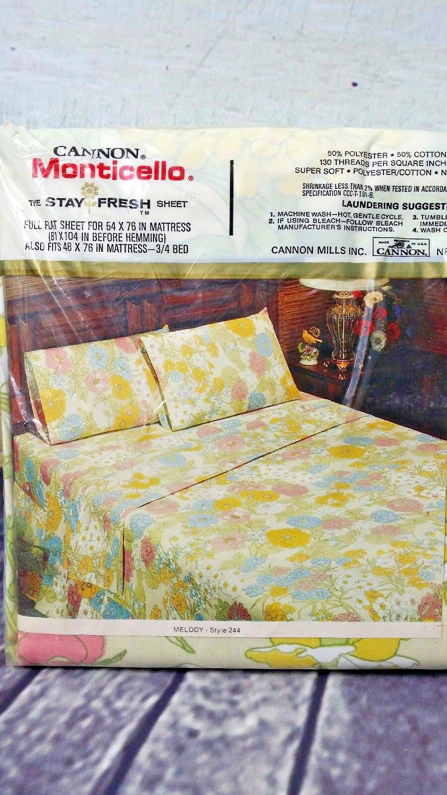 Vintage Cannon Monticello Melody Pattern Bed Sheets Mod Fl Print Sheet Sets