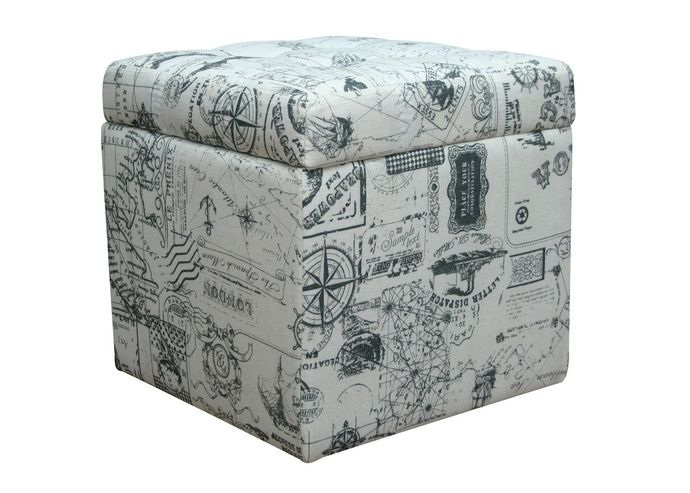Brent Collection French Script Upholstered Fabric Square