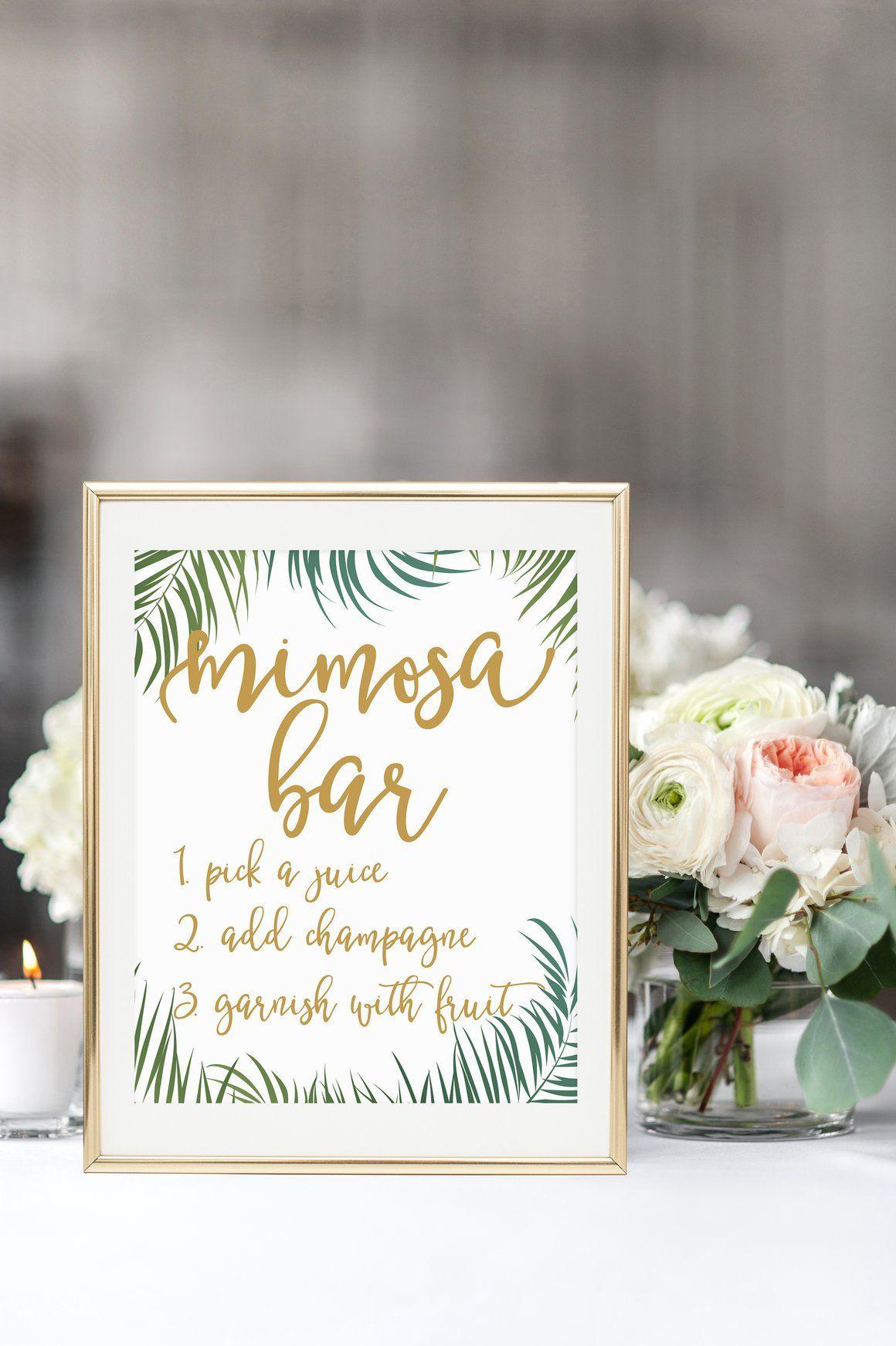 Mimosa Bar Sign - Tropical Printable #babyshowerideas