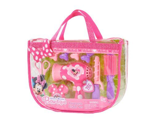 Disney Minnie Bowtique Hairstyling Tote Kids Can Pretend To Style Their Hair With The Minnie Mouse Bow Tiqu Baby Doll Accessories Minnie Tote Minnie Mouse Bow