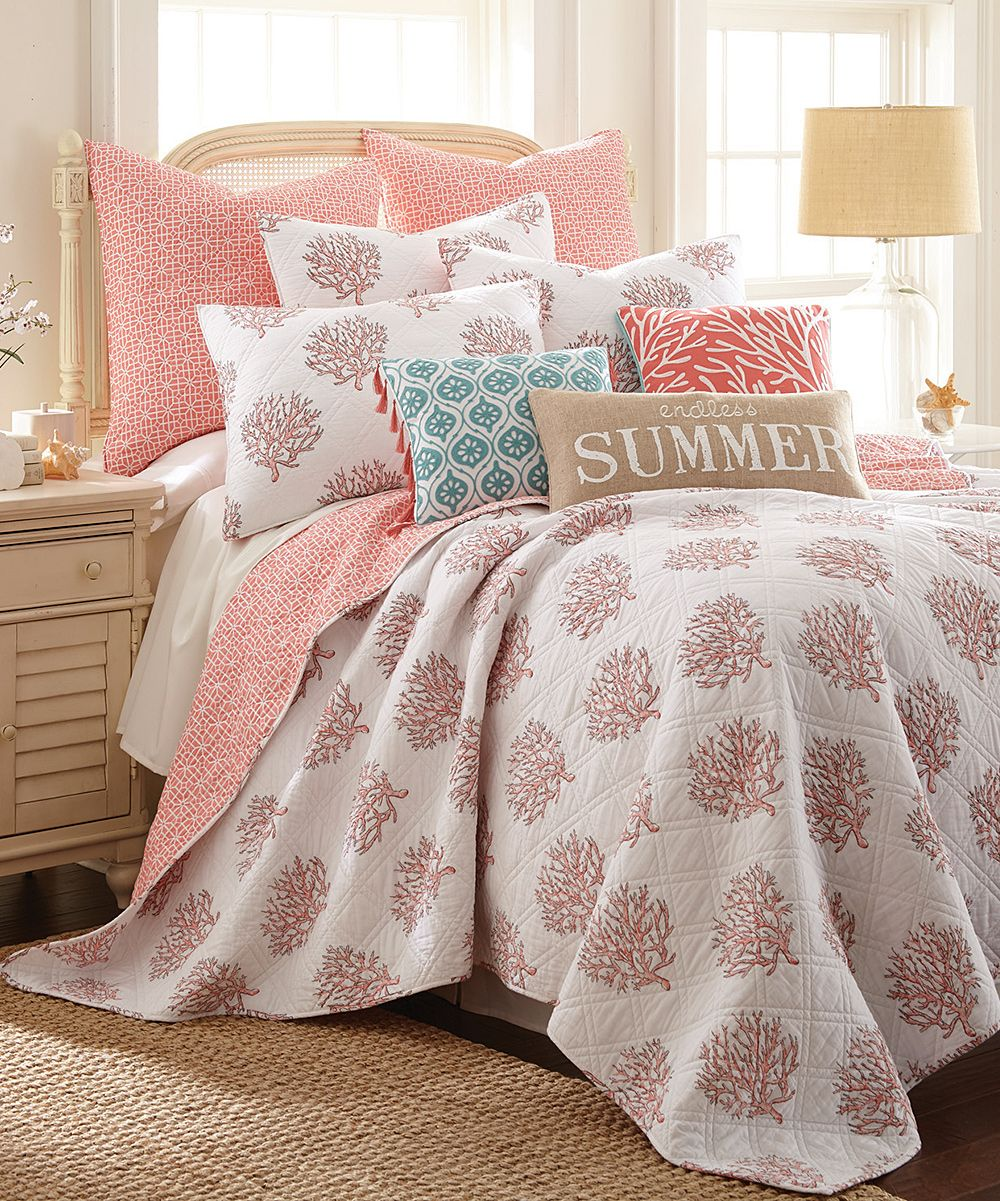 Coastal Decor Sales Coral Bedroom Coral Bedding Coral Quilt