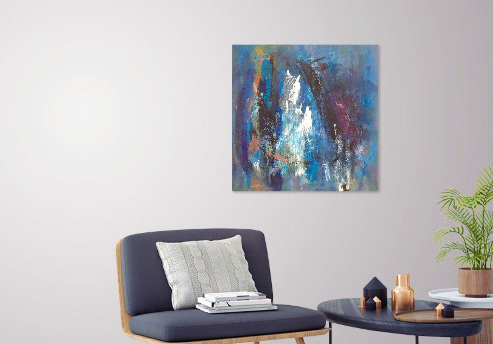 Abstract blue modern art x coastal decor contemporary art ocean