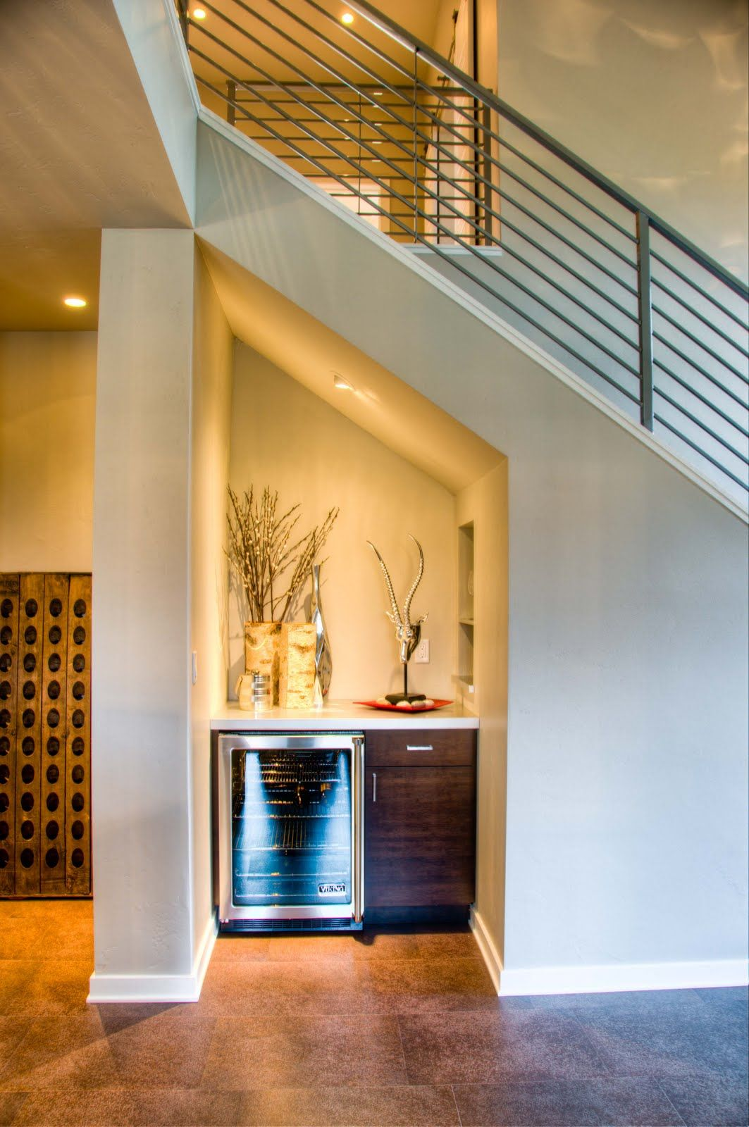Basement Stairs Design: Great Use Of Space Under Stair Well. This Mini Bar Has A