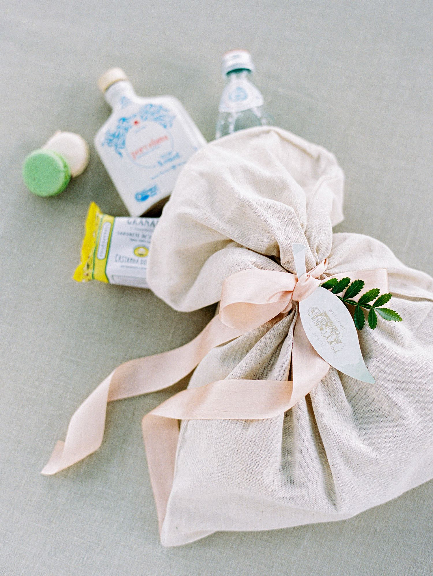 The couple gifted welcome bags to each of their guests. The goodies ...
