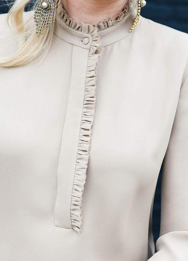 nude ruffle blouse … | Pinteres… Ruffled Designs