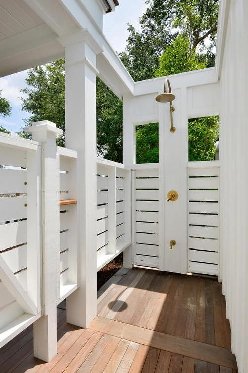Gorgeous Private Outdoor Shower Boasts Stunning Teak Outdoor
