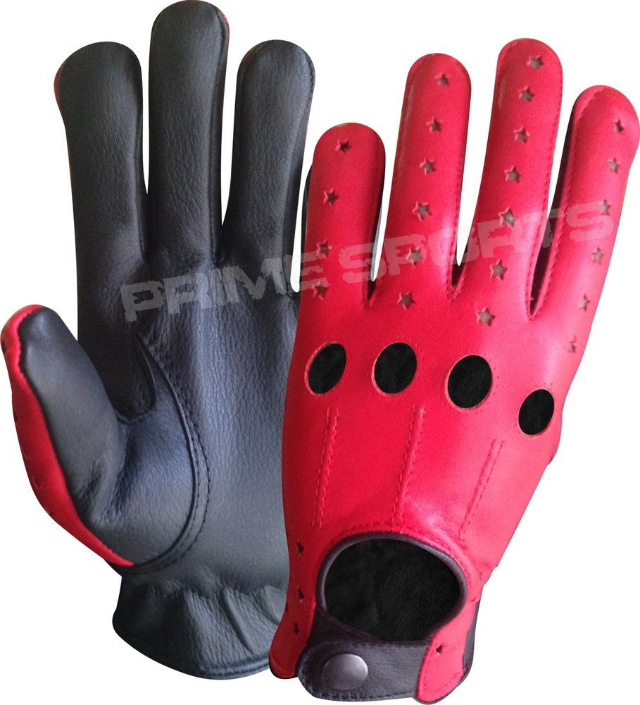 Red leather driving gloves mens - Details About New Prime Top Quality Real Soft Leather Men S Driving Gloves Black Red Stars 507