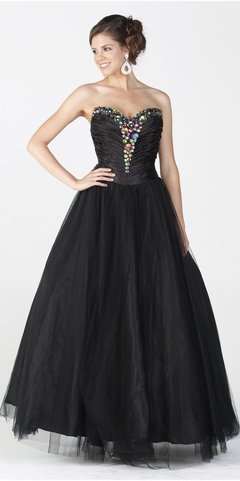 On special limited stock long puffy black dress satin mesh formal