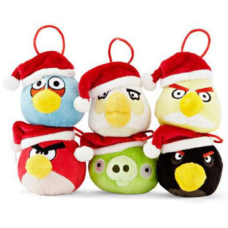Angry Birds Christmas Tree Decoration 6 pack with Santa Hats