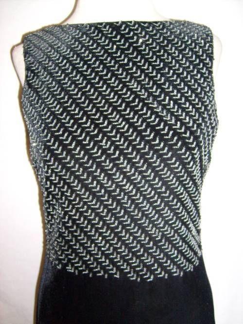 What a gorgeous, unique Chevron pattern evening gown! Size 6 Armani Collezioni Formal Dress Gown Black Velvet Silver Beading Evening | eBay