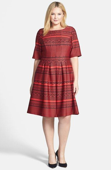 Gabby Skye Bateau Neck Fit & Flare Dress (Plus Size) available at #Nordstrom