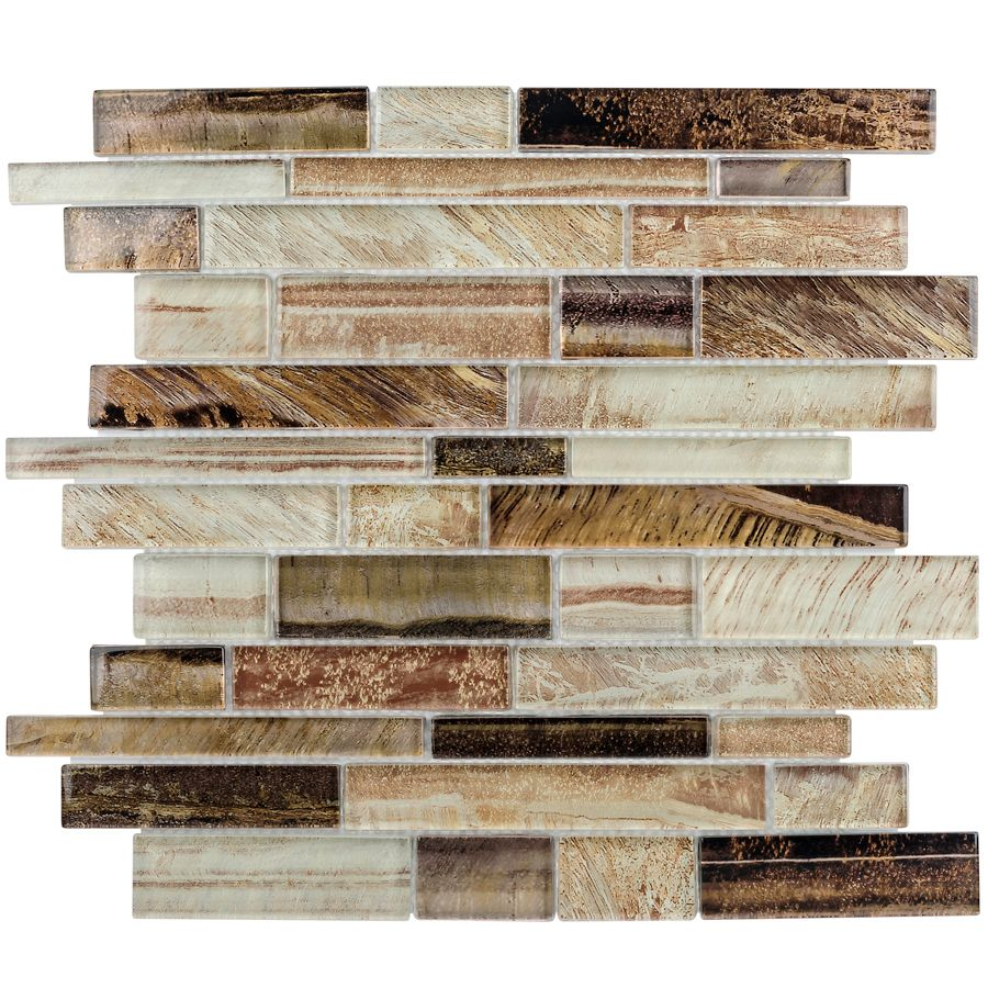 - Laser Metallic Earth Linear Mosaic Glass Wall Tile (Common: 12-in