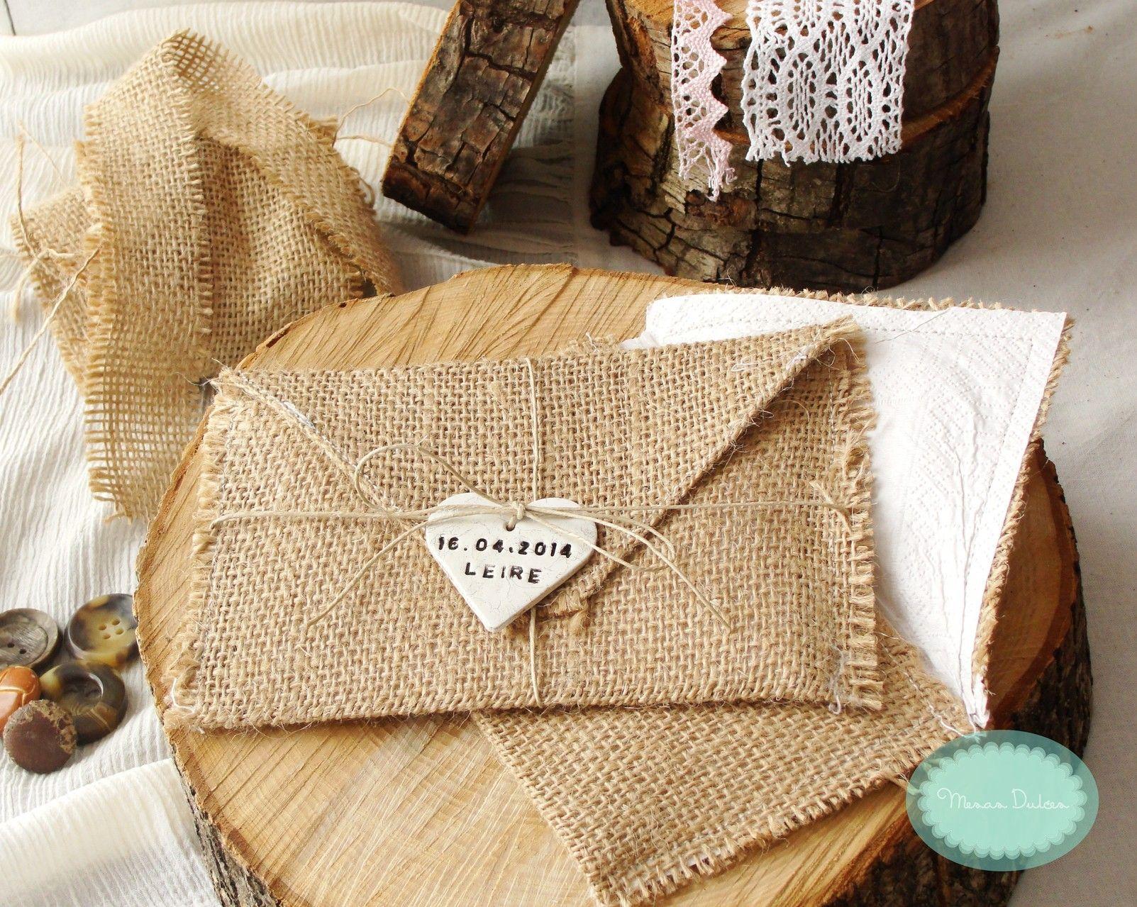 En sta secci n encontrar s sobres de arpillera para - Saquitos de tela ...