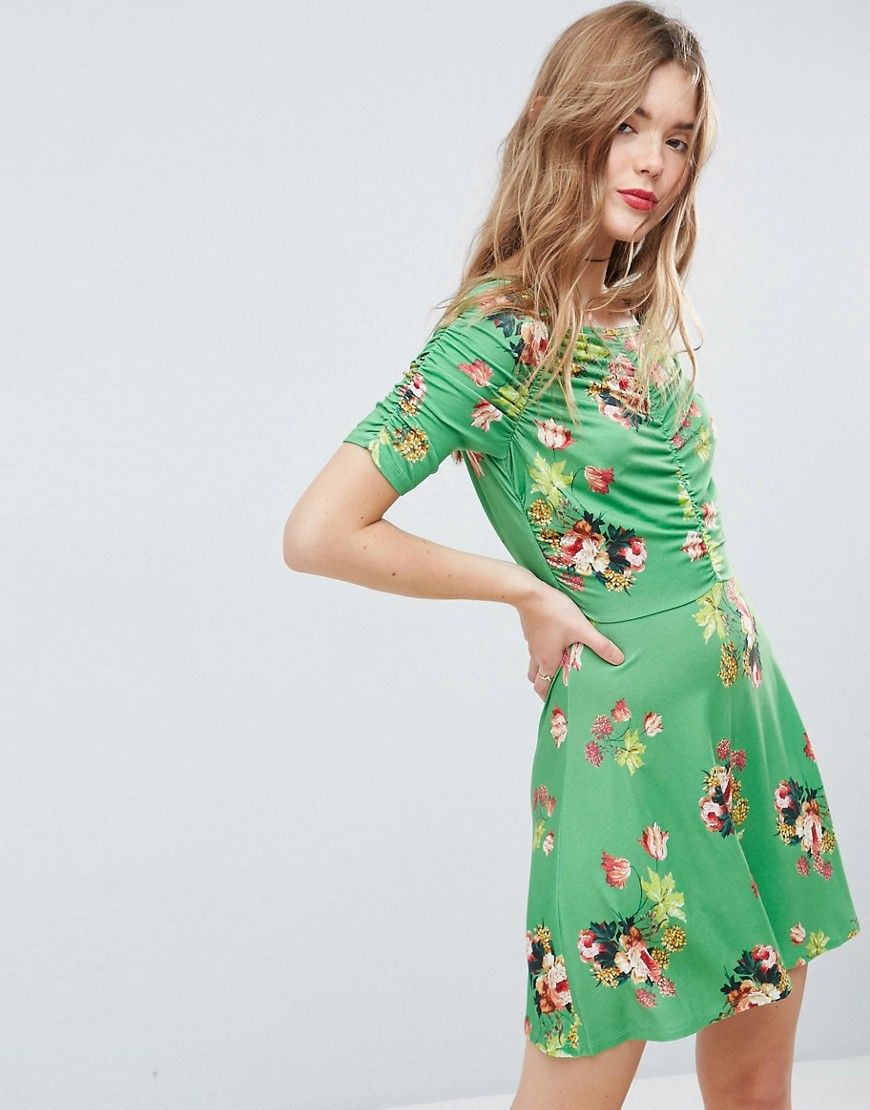Asos Mini Tea Dress With Rouching Detail In Green Floral Print Green Mini Dress Tea Dress Floral Prom Dresses