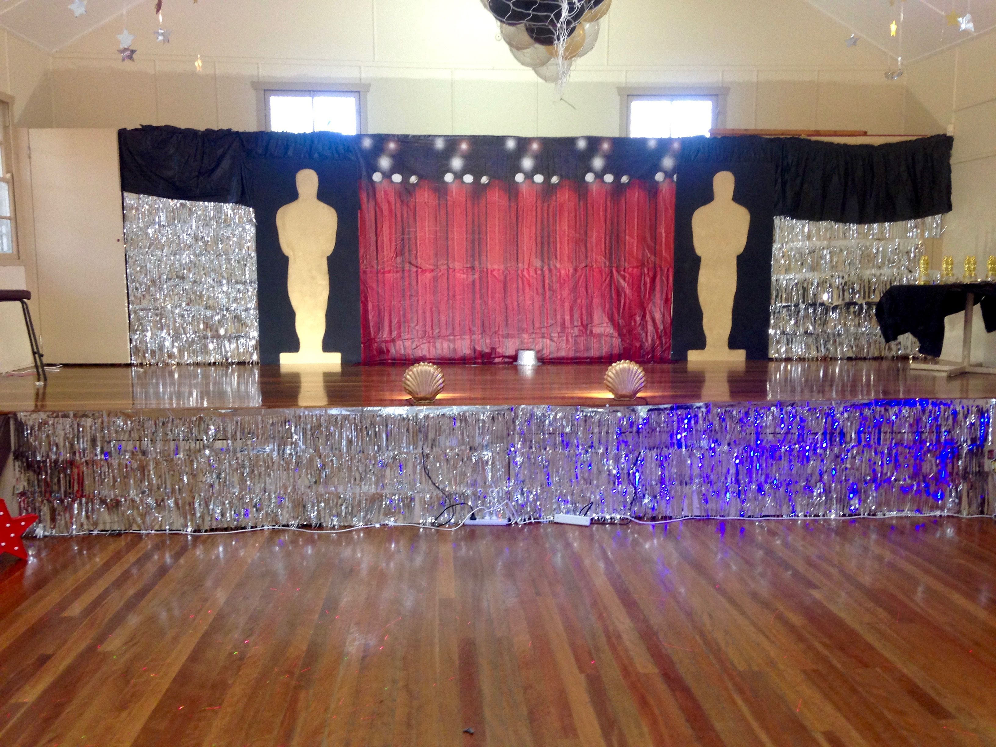 Glam Hollywood Birthday Party Stage Set Up With