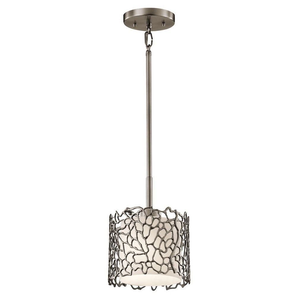 Silver coral one light mini pendant classic pendant lighting