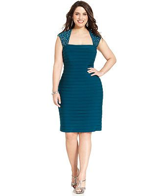 Xscape Plus Size Cap-Sleeve Embellished Banded Sheath - Dresses ...