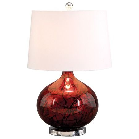 "Jena Table Lamp   •Dimensions:   •Overall Dimensions: 23"" H x 15"" W x 15"" D   •Shade Dimensions: 11"" H x 15"" W x 15"" D  •Sleek white shade  •Large round silver glass base  •Abstract designs over a dark red background  •Modern style  •Accommodates (1) 60W bulb - not included    $201.00"