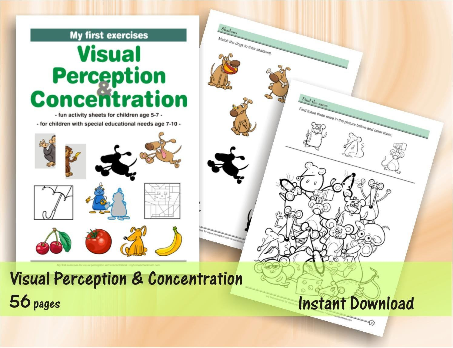 My First Exercises For Visual Perception And Concentration 56 Printable Worksheets Download Digital Printable Workbook Printable Worksheets Special Educational Needs Free Printable Activities [ 1150 x 1495 Pixel ]