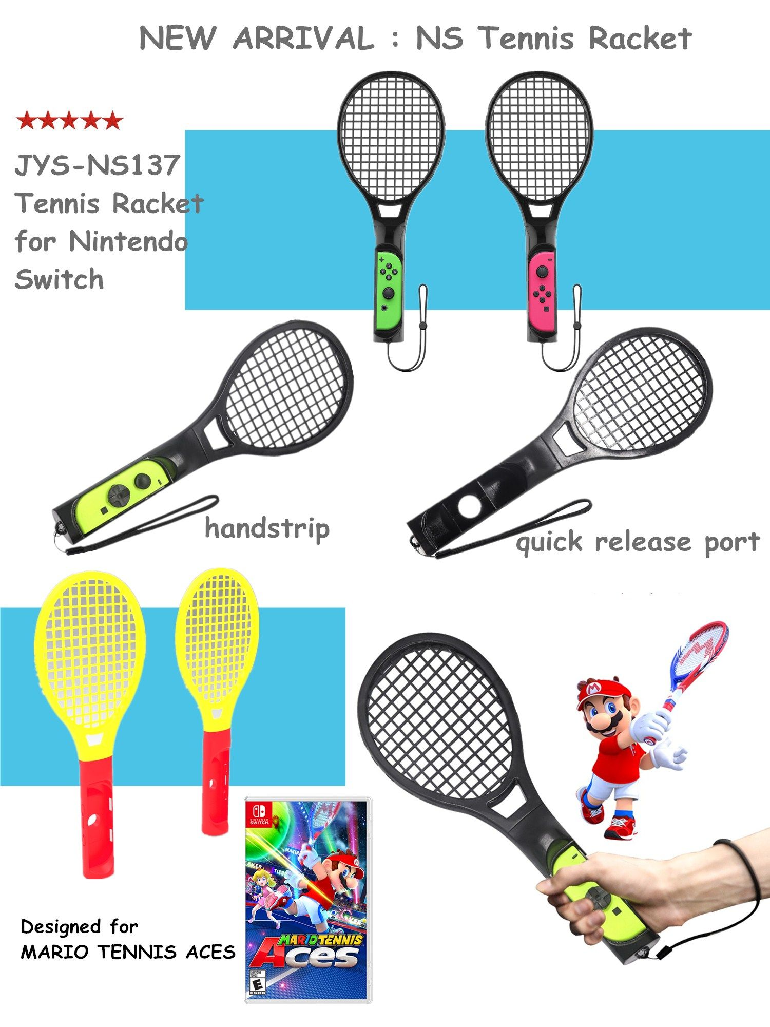 New Arrival 2 In 1 Pack Tennis Racket For Joy-con Nintendo Switch ...