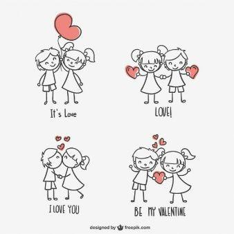 Dibujos De Ninos De San Valentin 23 2147502718 Jpg 338 338 Valentines Day Drawing Valentines Design Stick Figures
