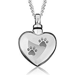 Heart Pet Dog/Cat Paw Print Cremation Necklace URNs For Ashes Holder Memorial Keepsake Stainless Steel