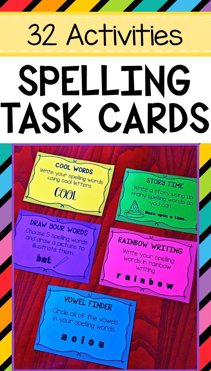 32 Spelling Task Cards Activities Include Rainbow Writing Alphabetical Order Sentence Writing Pyramid Words Spelling Task Cards Spelling Words Task Cards [ 1266 x 720 Pixel ]