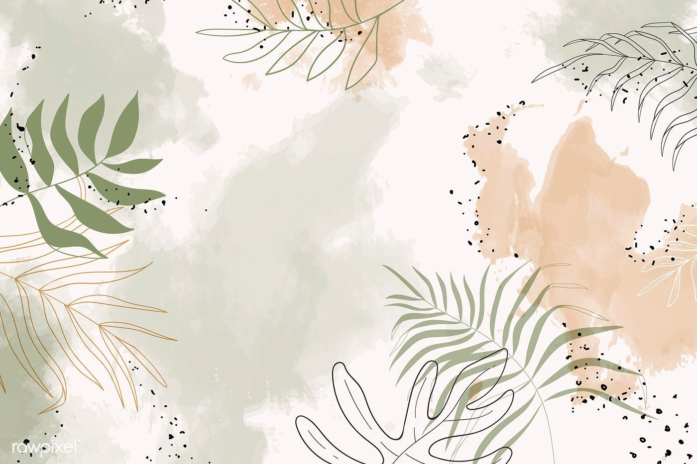 Download Premium Vector Of Beige Leafy Watercolor Background Vector 1222773 In 2020 Computer Wallpaper Desktop Wallpapers Cute Desktop Wallpaper Cute Laptop Wallpaper