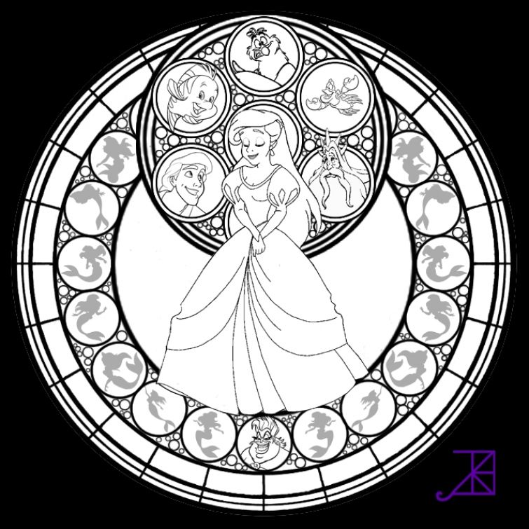Little girl Stained Glass online coloring sheet  Abstract