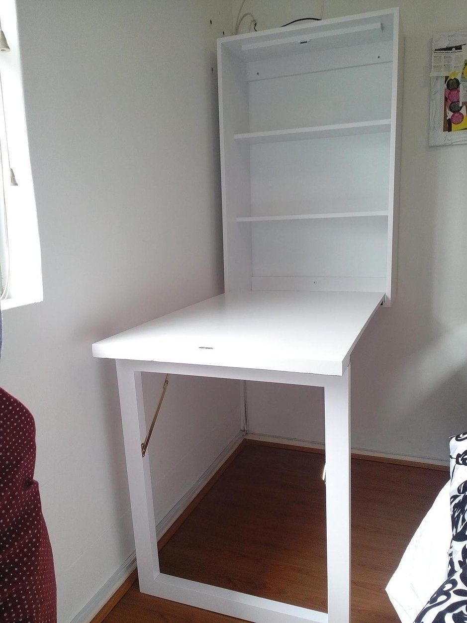 Image Of White Wall Mounted Folding Desk Fold Down