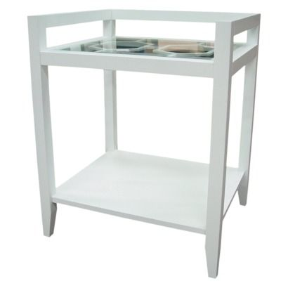 Threshold™ White Two Tier Accent Table With Lattice, $70