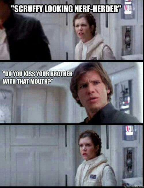 Star Wars Memes | Leia, Han, kiss, brother | Funny star wars memes, Star  wars humor, Star wars memes
