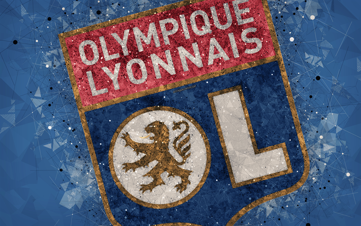 Download Wallpapers Olympique Lyonnais 4k Geometric Art French Football Club Creative Art Logo Emblem Ligue 1 Blue Abstract Background Lyon France Fo Creative Art Geometric Art Blue Abstract