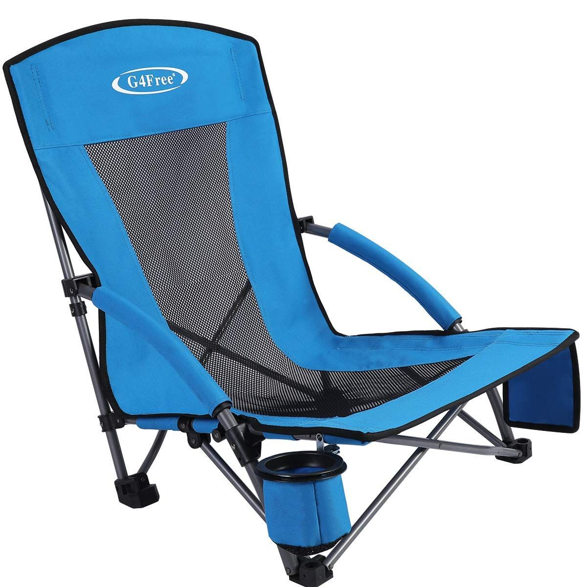 G4free Low Sling Folding Beach Chair Camping Chairs Compact Concert Lumbar Back Support Festival Chair With Car Outdoor Chairs Folding Beach Chair Beach Chairs