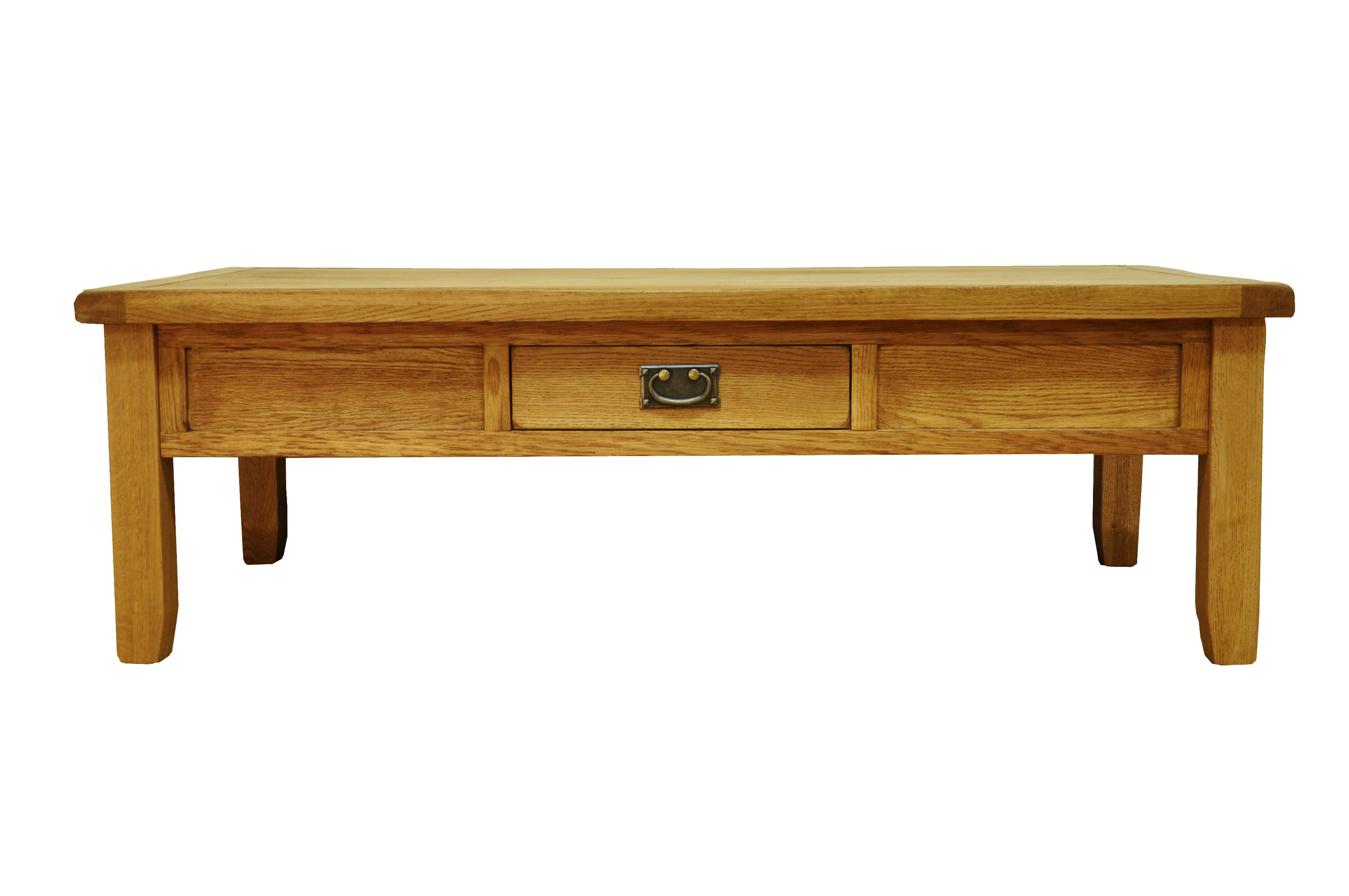 Stanton Large Rustic Oak Coffee Table With Drawer 1400mm X 700mm