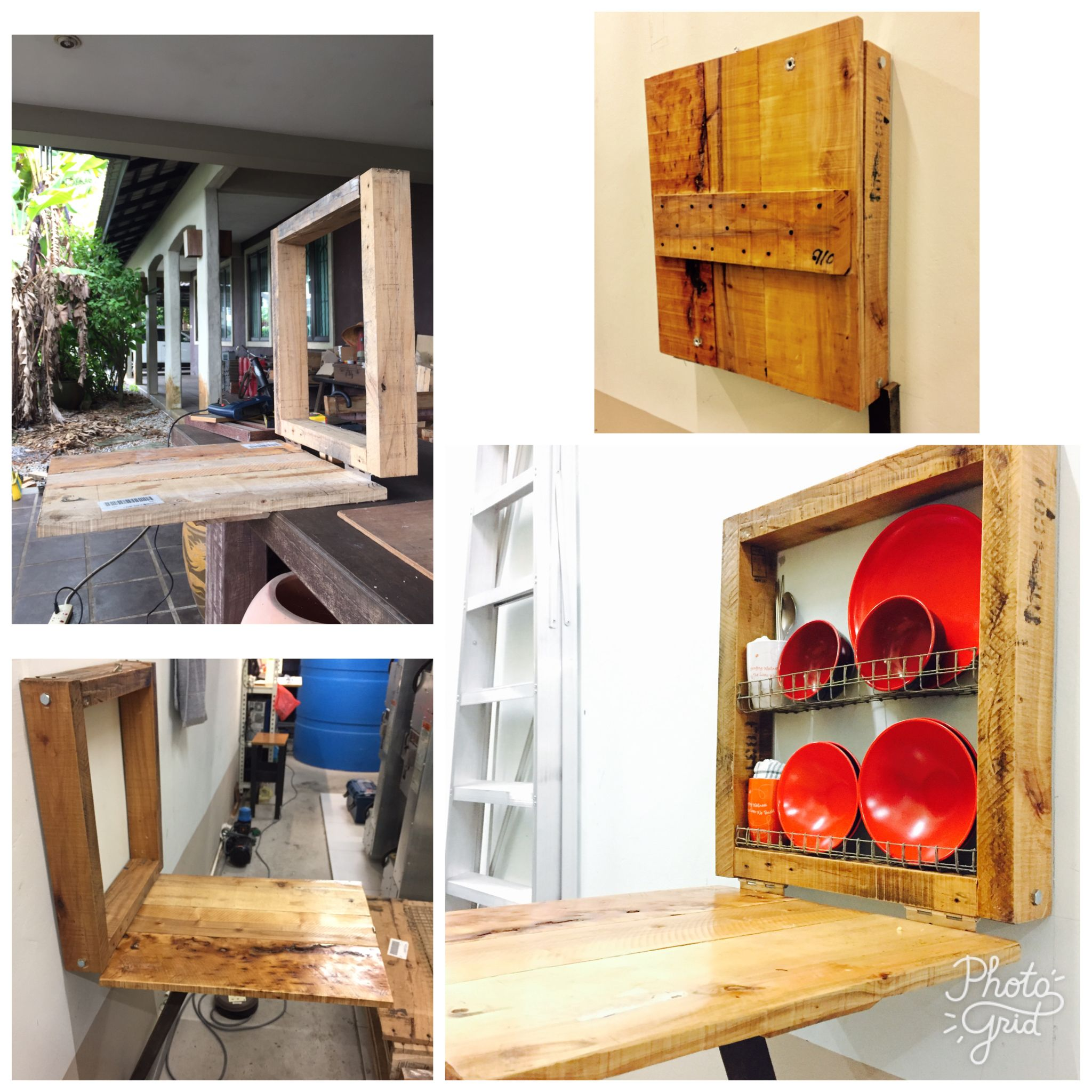 Pallet Recycling Small Wall Shelf With Folding Table