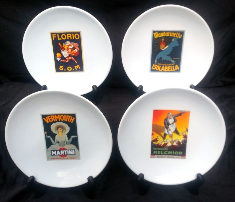 Set Of Four Vintage Cocktail Plates From Pottery Barn Old