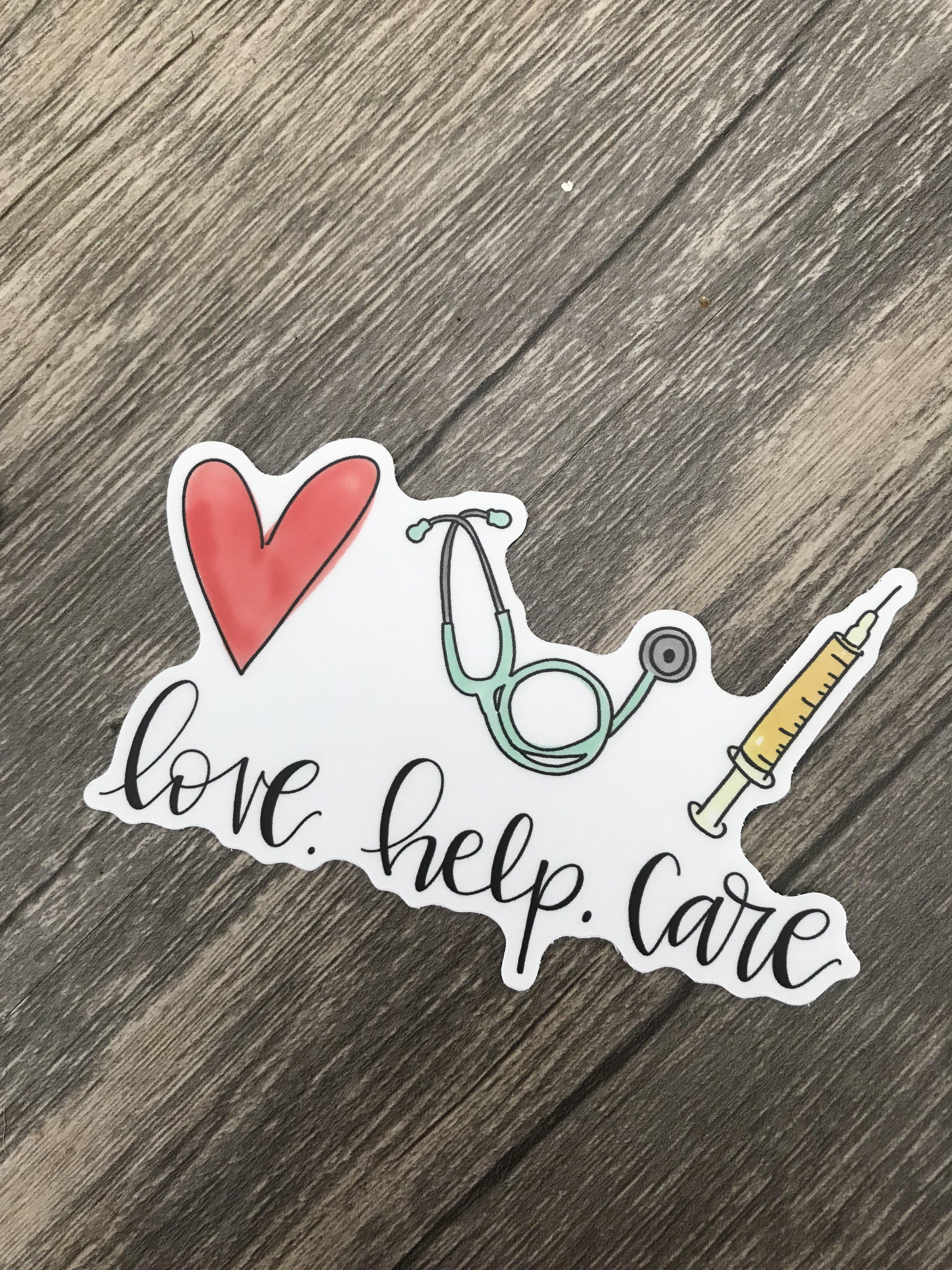 Photo of Love. Help. Care. Sticker