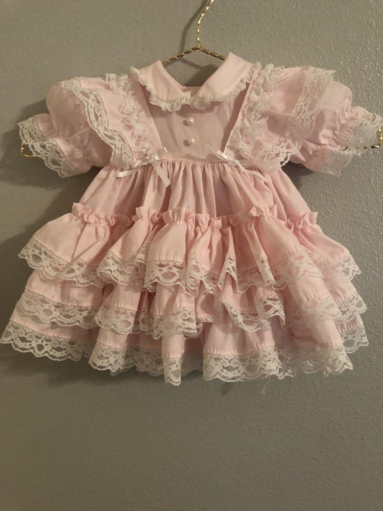 6176f2abc Pink vintage baby girl dress  VTG ruffle Mini World child dress ...