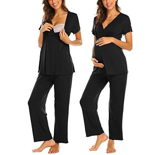 16faf75293c42d MAXMODA Damen Umstandspyjama V-Ausschnitt Oberteile Shirt und Lang ...