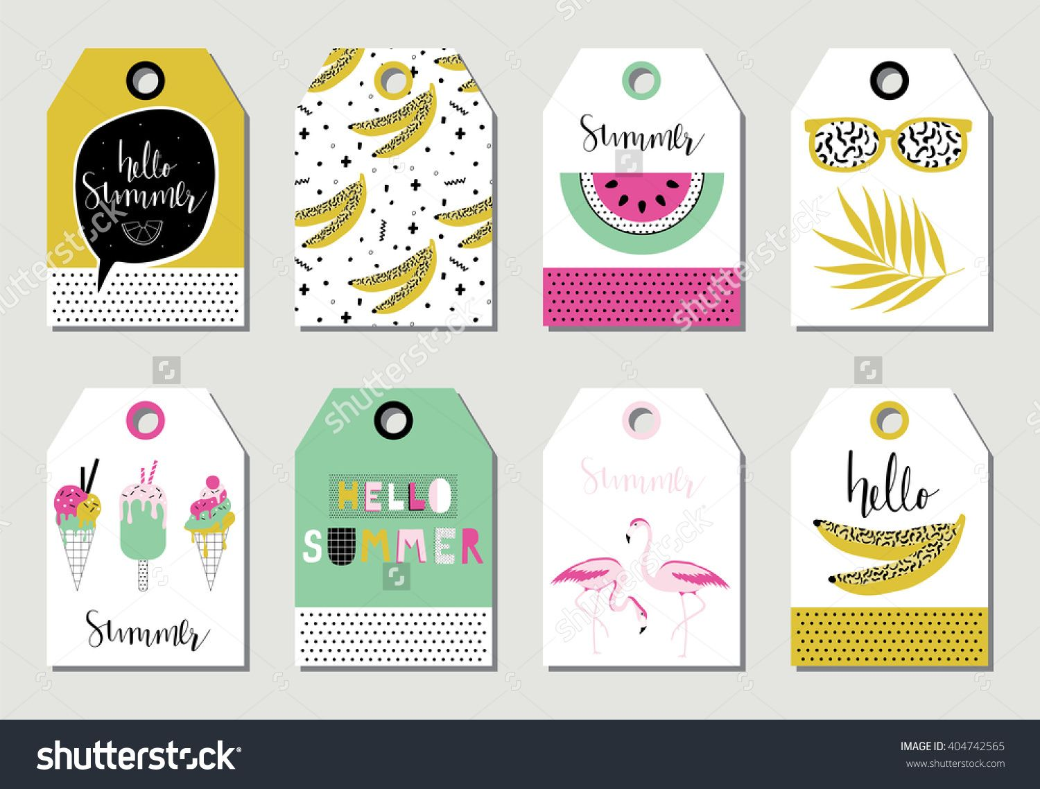 Summer gift tags and labels with cute ice cream, watermelon ...