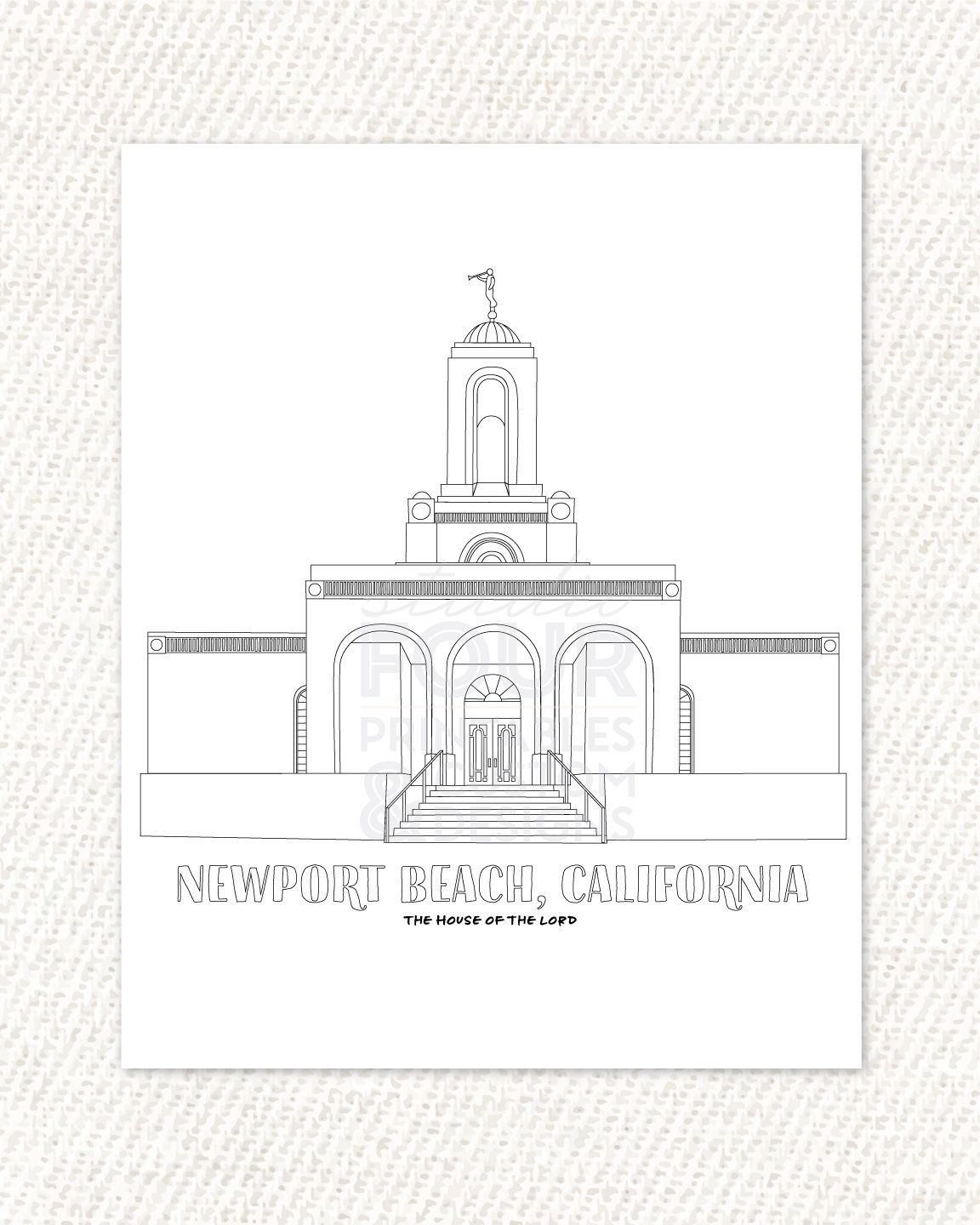 Printable Newport Beach California Lds Temple Coloring Page