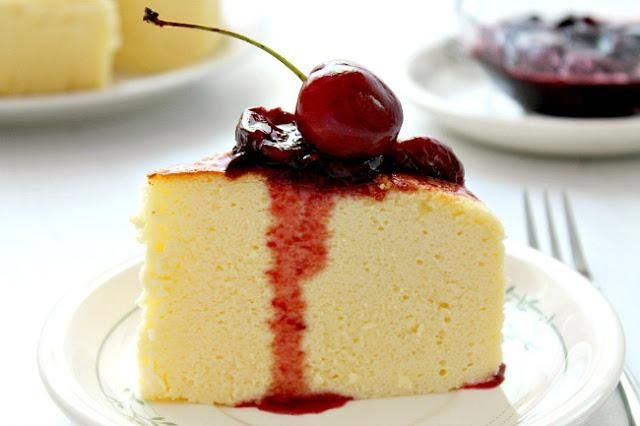 Cheesecake Recipes : DIY Japanese cheesecake with simple cherry sauce