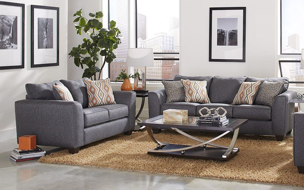 Albany Crypton Graphite Sofa Loveseat