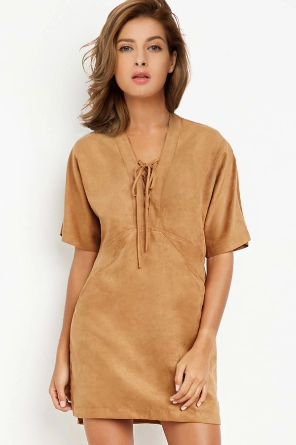 Suede Solid Color V-Neck Short Sleeves Dress